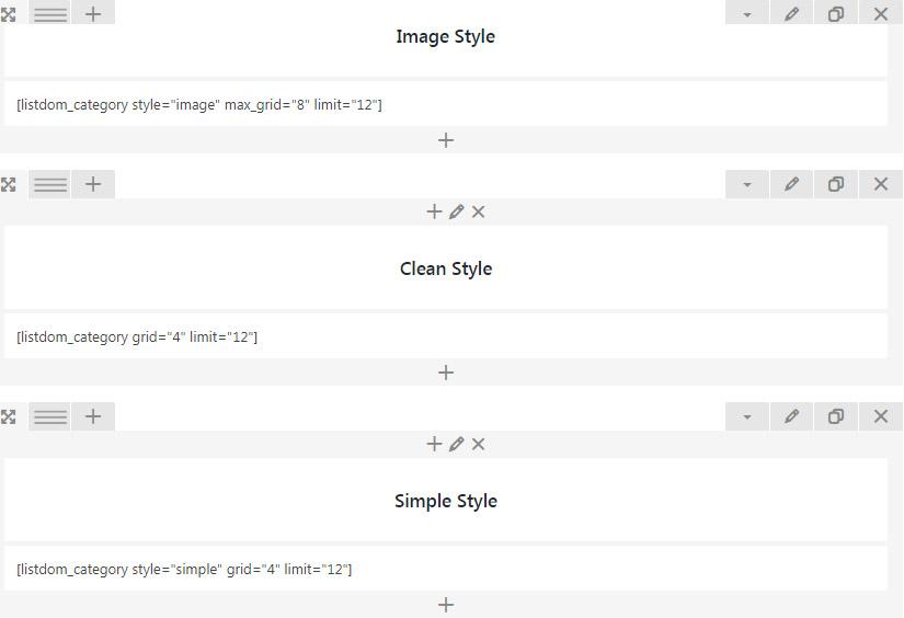 Listdom categories shortcode