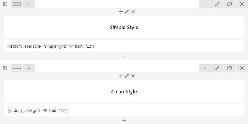 Listdom labels shortcode